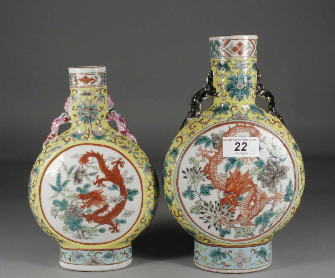 22: Two similar nineteenth century Chinese moon flasks,
