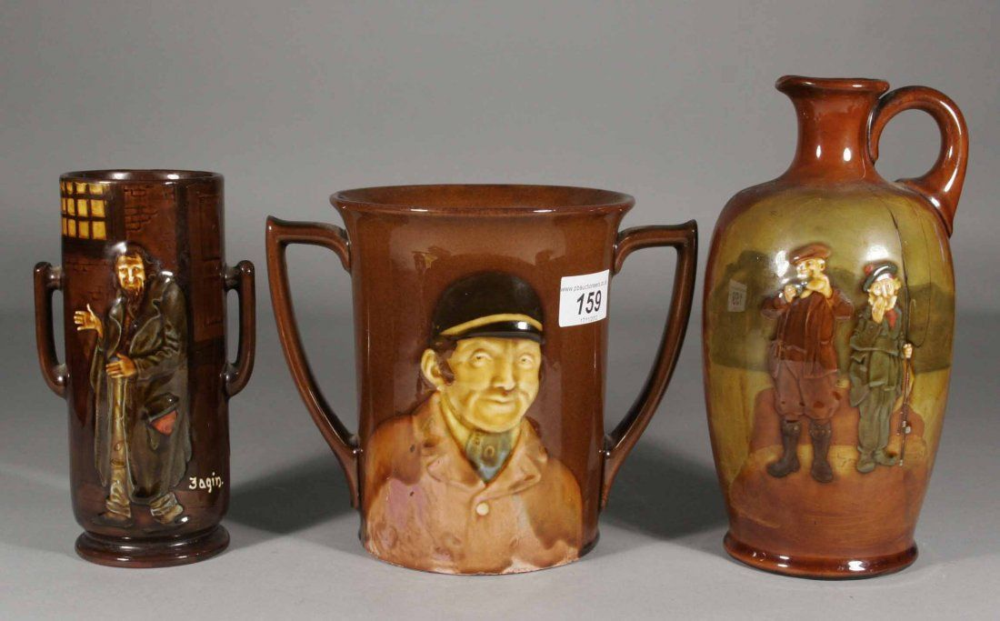 159: Three pieces of Royal Doulton Kingsware pottery, i