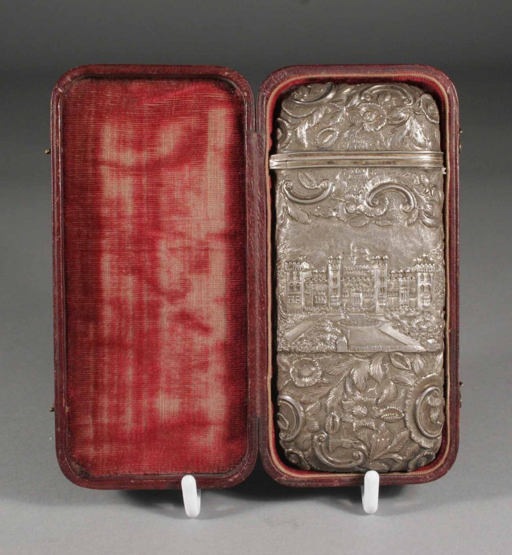 429: An early Victorian silver spectacles case in fitte
