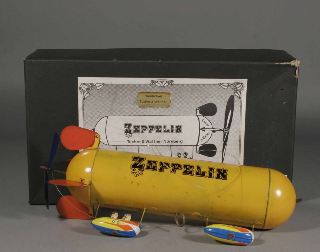 580: A boxed tinplate toy zeppelin by Tucher & Walther