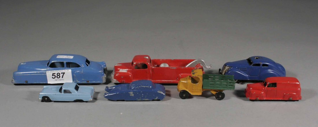 587: Five American tootsie toy painted Diecast model to
