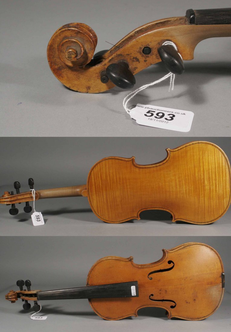 593: A French violin label reads Maignant Luthier Breve