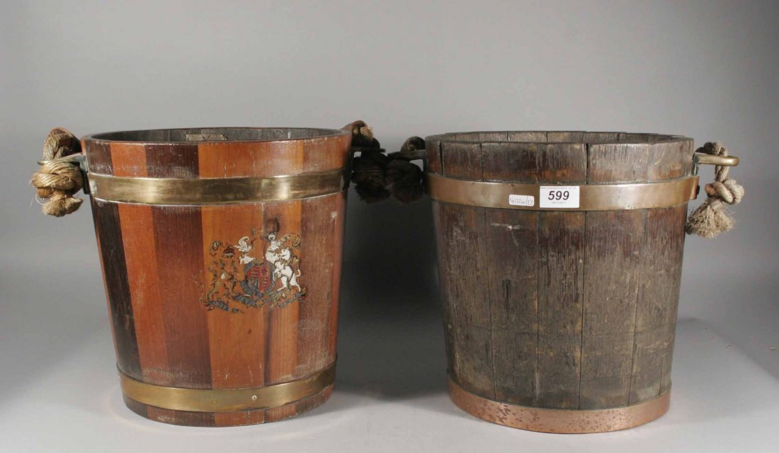 599: An antique copper bound oak shot bucket with rope