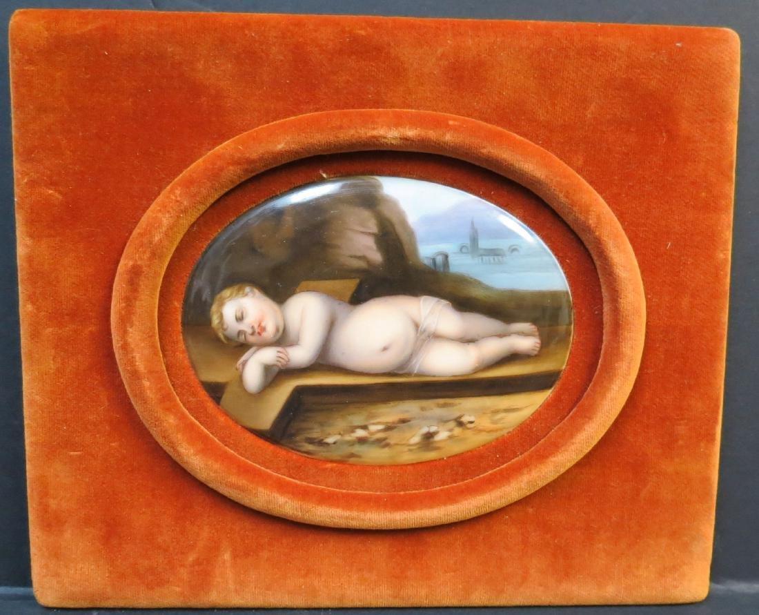 """KPM Porcelain plaque Hand painted 4"""" x 3"""" + Frame"""