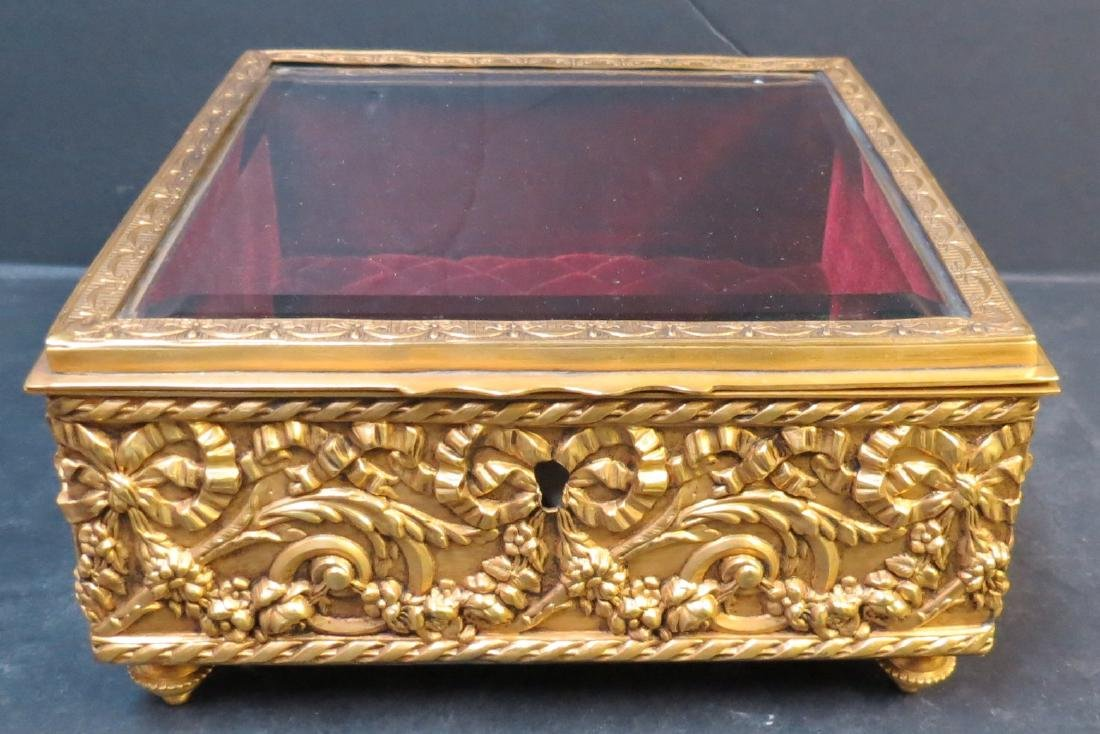 """Jewelry box - Dore brass & crystal France 1920 H: 3.5"""""""
