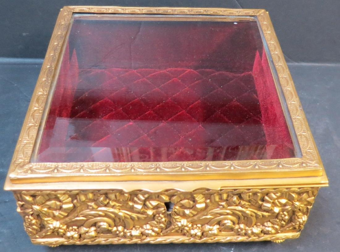 "Jewelry box - Dore brass & crystal France 1920 H: 3.5"" - 2"