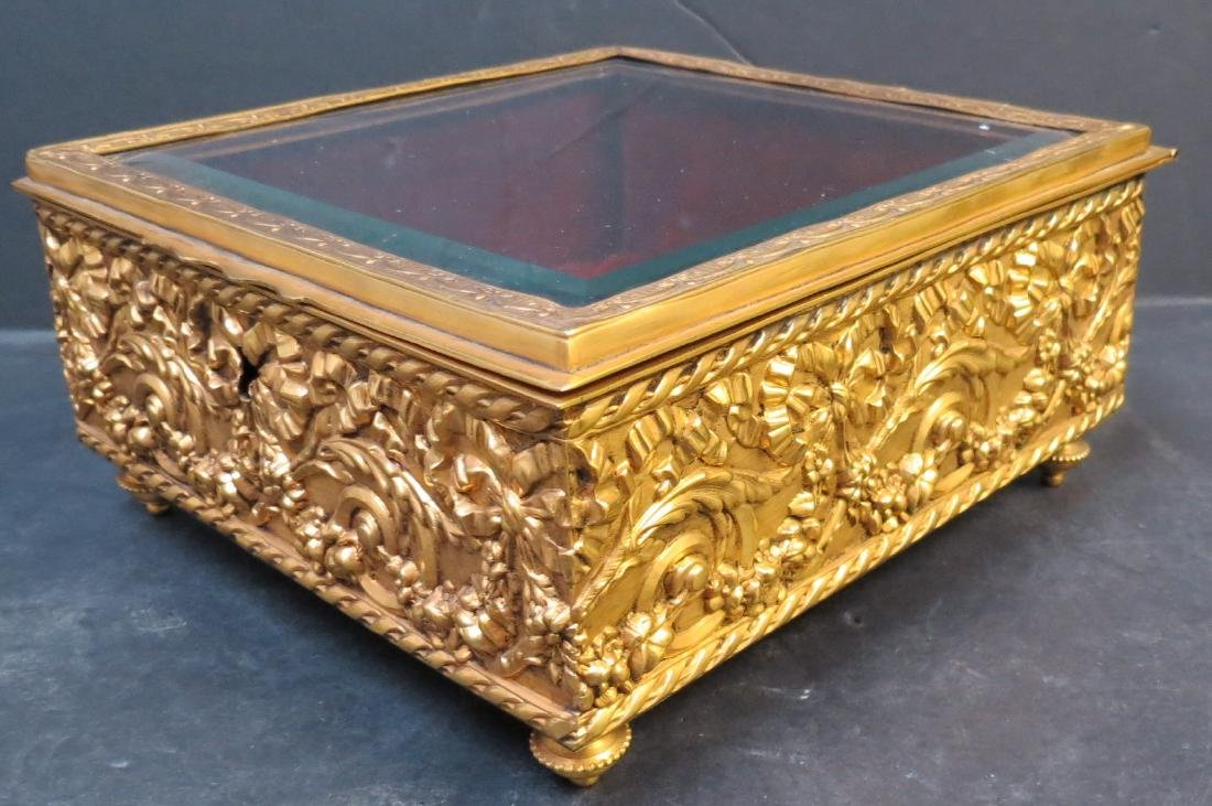 "Jewelry box - Dore brass & crystal France 1920 H: 3.5"" - 3"