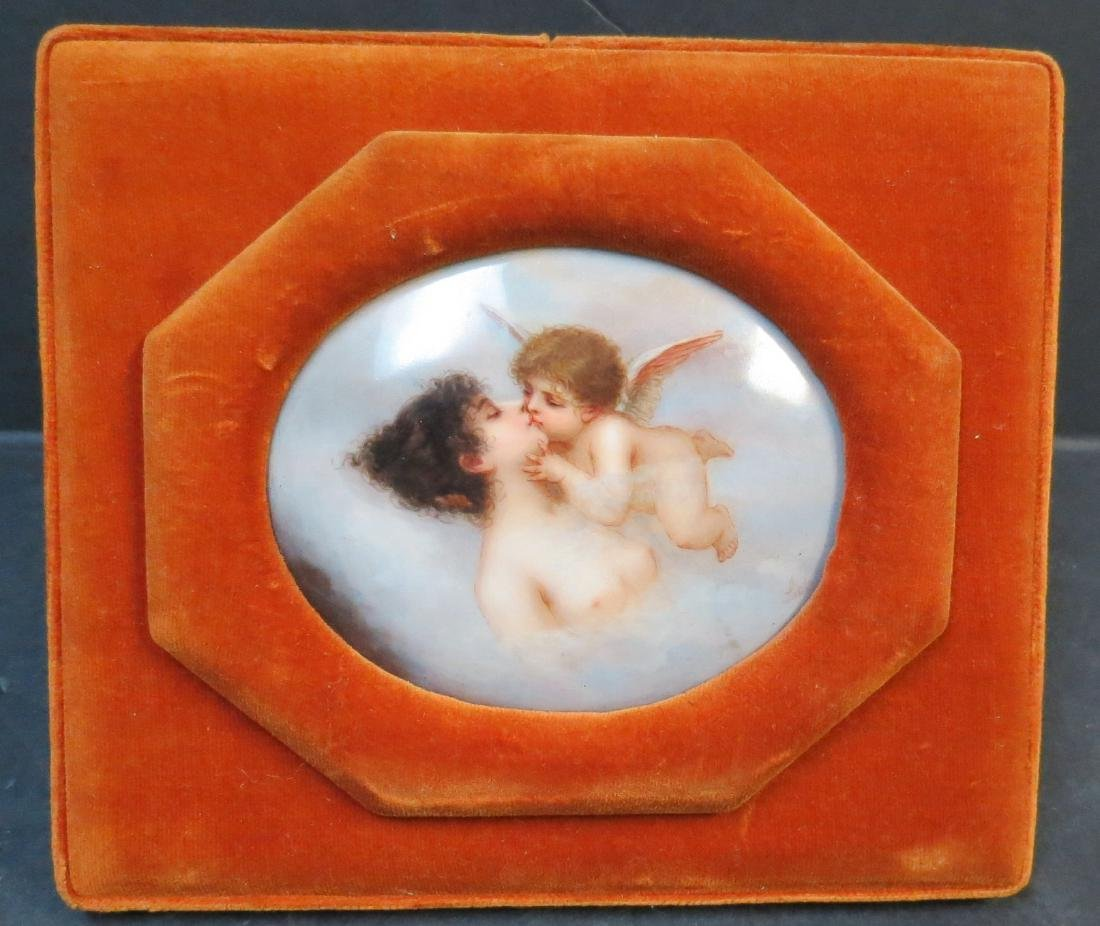 "KPM Porcelain plaque Hand painted 3.5"" x 3"" + Frame"