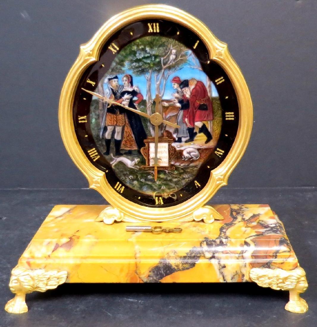 "Enamel & Bronze Clock Museum Quality H:7""W:7"""