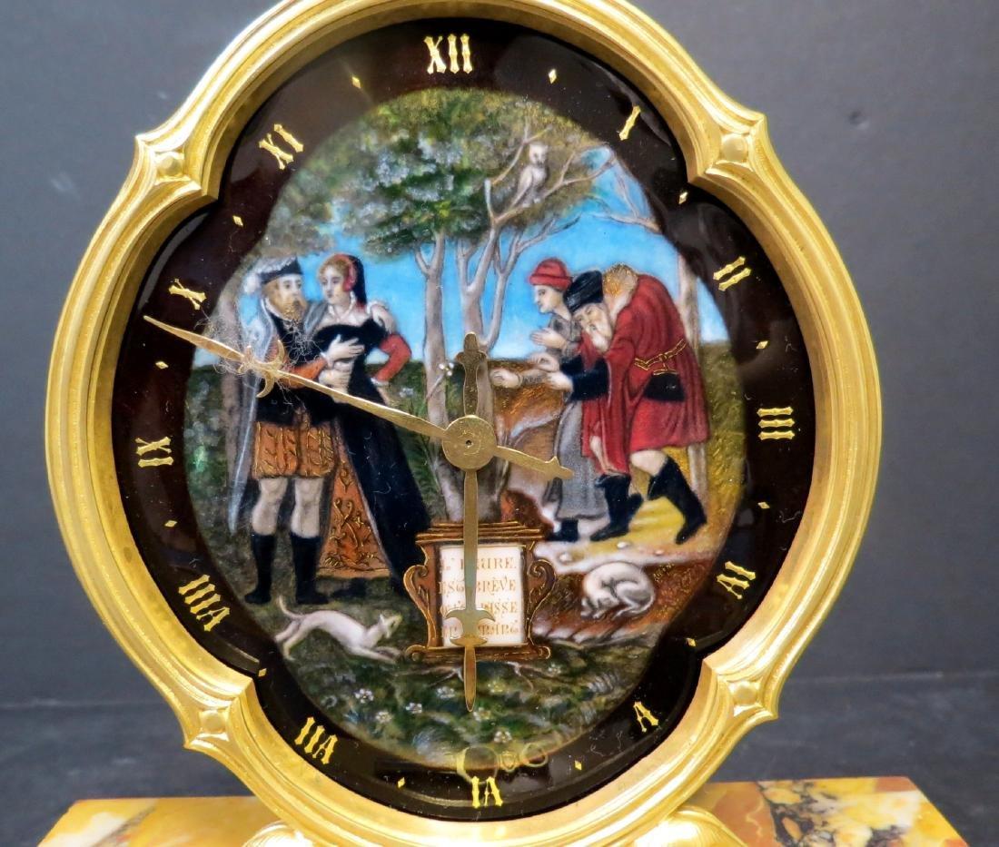 "Enamel & Bronze Clock Museum Quality H:7""W:7"" - 2"