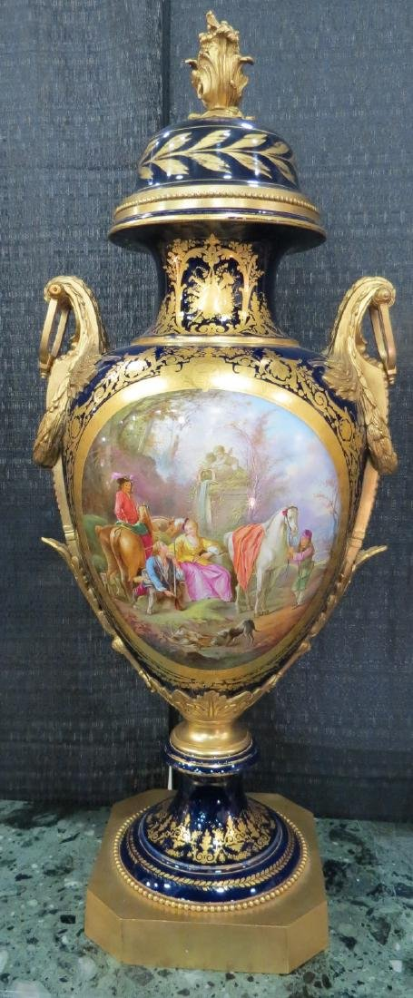"Sevres Urn Magnificent H: 43"" France 1890 Signed"