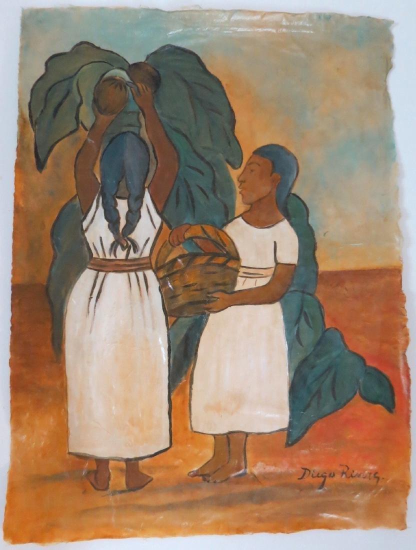 """Diego Rivera - Watercolor on paper - COA 16.5"""" x 12.5"""""""