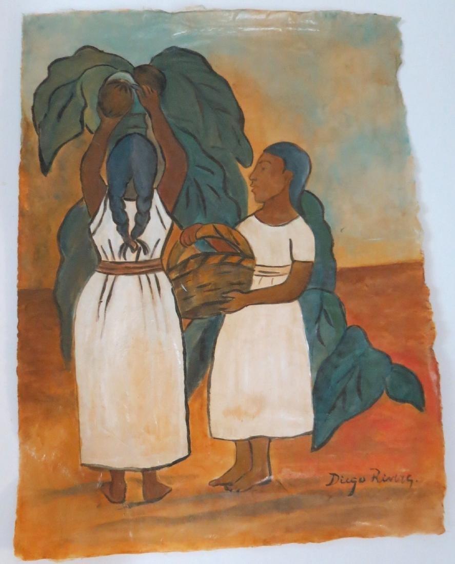 """Diego Rivera - Watercolor on paper - COA 16.5"""" x 12.5"""" - 2"""
