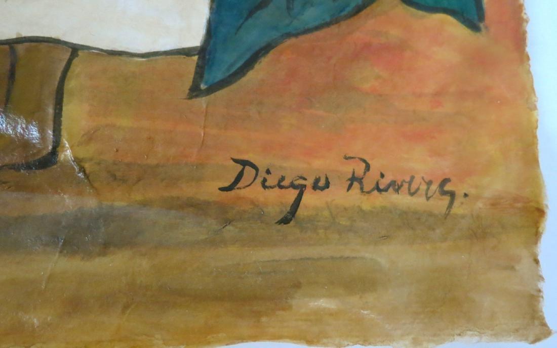 """Diego Rivera - Watercolor on paper - COA 16.5"""" x 12.5"""" - 3"""