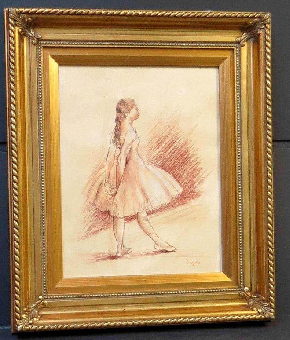 Edgar Degas - Sepia crayon on paper - Dedicated - COA