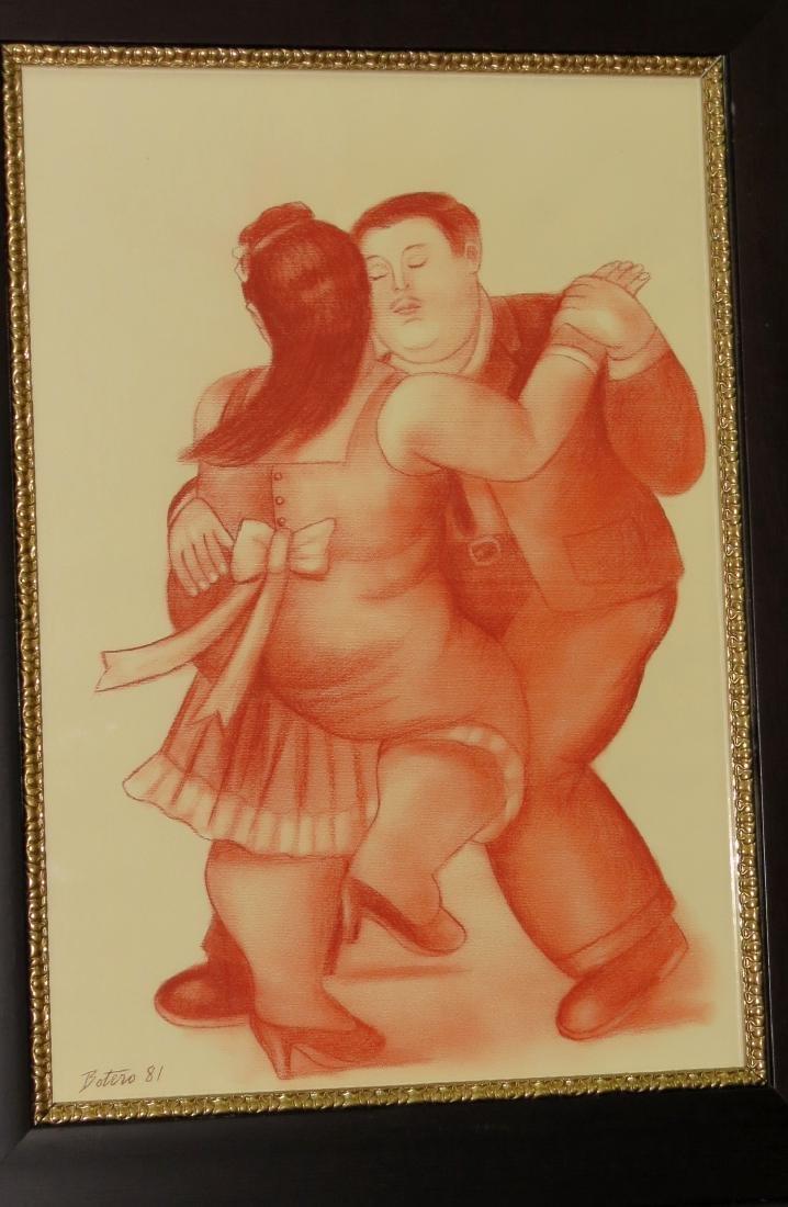 "Fernando Botero - Sanguina on paper ""Tango"" COA 26"" x"
