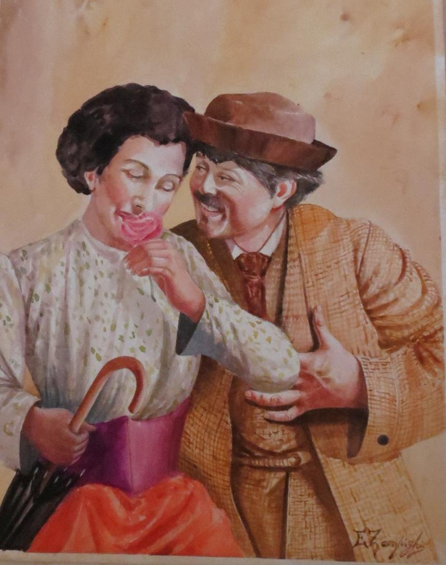 Eugenio Zampighi (1859-1944) Watercolor /paper COA