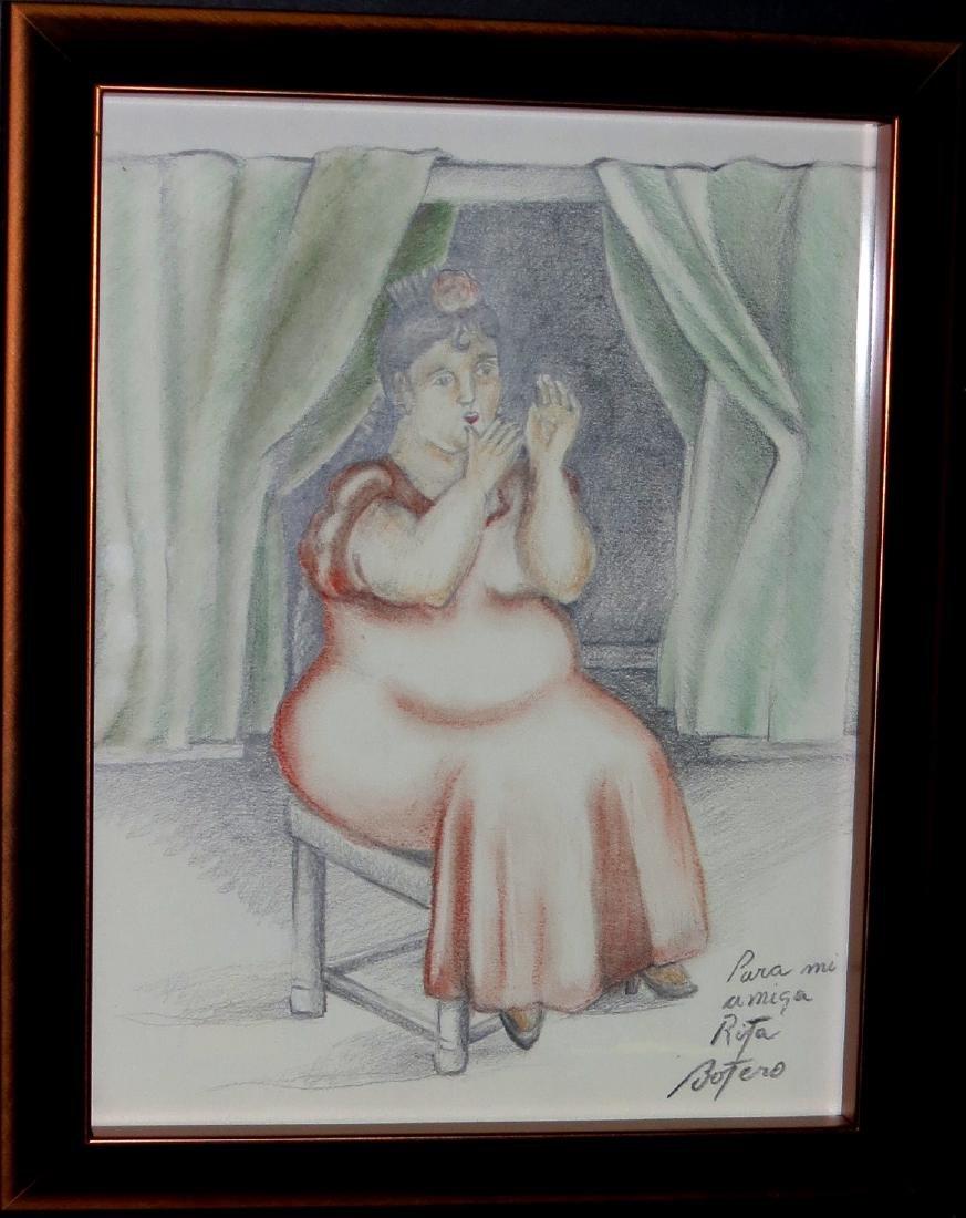 Fernando Botero - Colored pencil on paper - COA