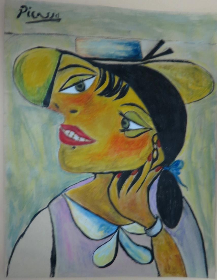 """Pablo Picasso - Colored pencil on paper - COA 14"""" x 11"""""""