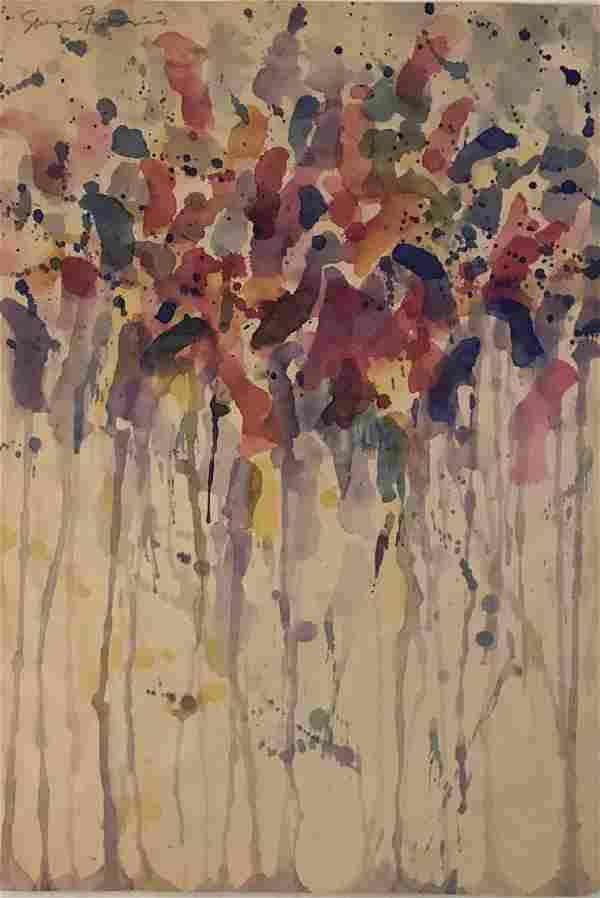"Sam Francis - Watercolor on paper COA 14"" x 10"""