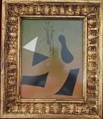 "Joan Miro Watercolor on Paper COA 13.5"" x 11.5"""