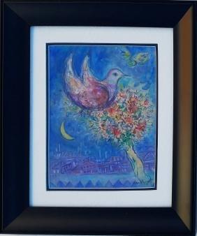 "Marc Chagall - Gouache on paper - Bird 12.3"" x 8.6"""