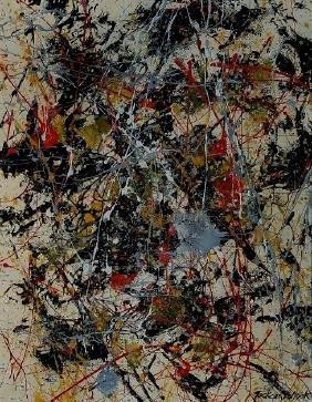 "Jackson Pollock Mixed Media on paper 13"" x 10.5"""