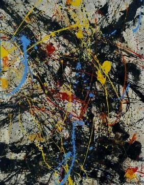"Jackson Pollock Mixed Media on paper 14"" x 11"""