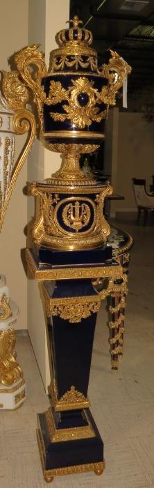 Pair of Cobalt Blue Urns with pedestals