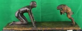 """Art Deco Bronze Figure of Nude Lady """"Silvestre"""""""