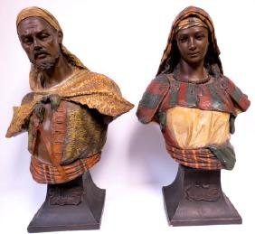 Goldscheider Pair of Orientalist Busts Polychrome