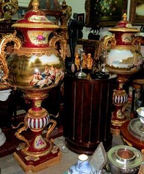 Dresden Giant Pair of Urns Porcelain Dore Bronze