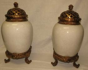 Pair of Bronze and Porcelain Urns Imperial Style