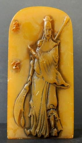 """Hand Carved Soapstone, Monk Figure H: 5"""" China"""
