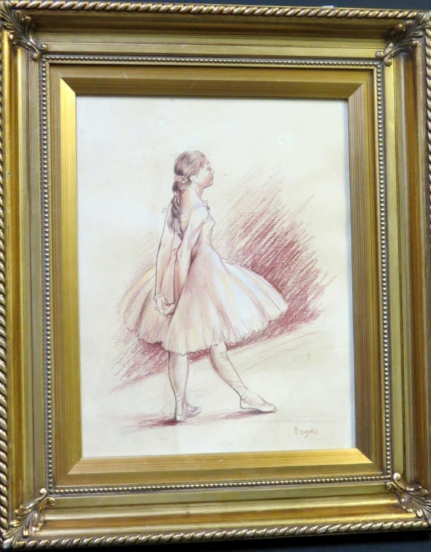 Edgar Degas  Sepia crayon on paper Dedicated -COA - 2