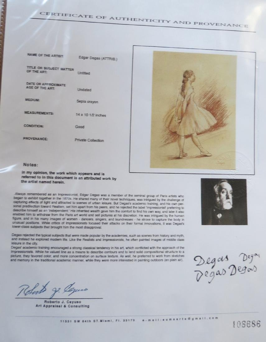 Edgar Degas  Sepia crayon on paper Dedicated -COA - 5