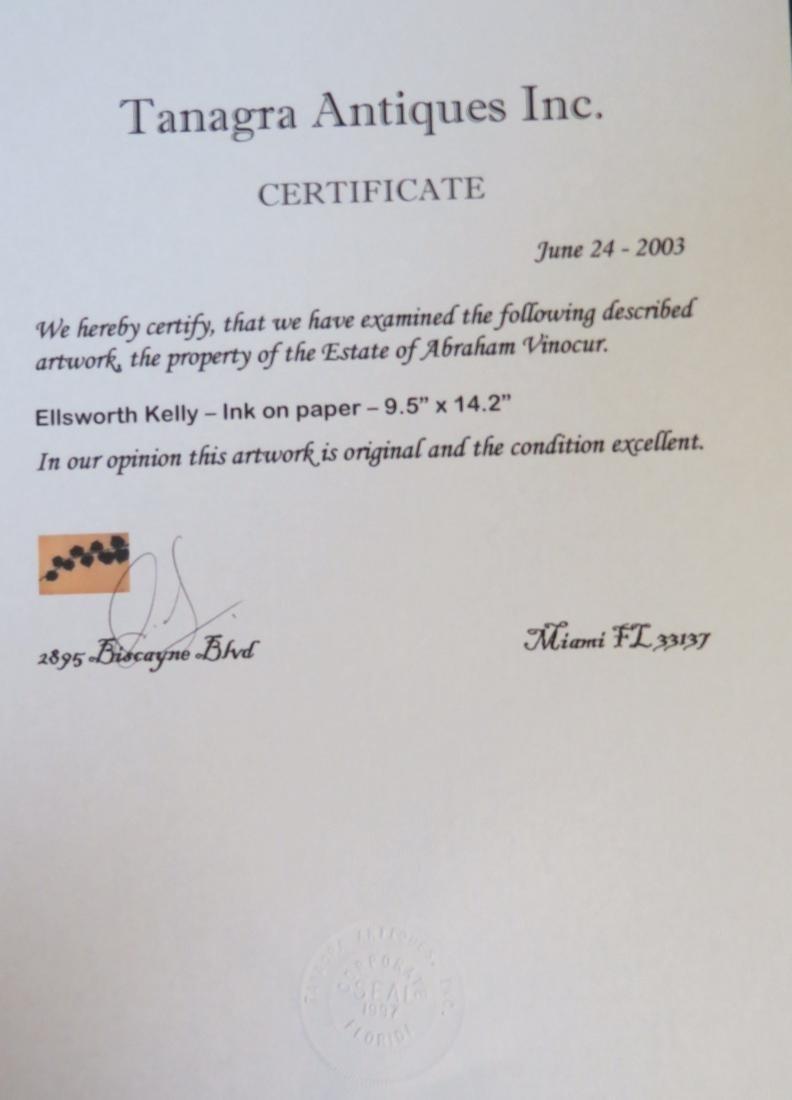"Ellsworth Kelly - Ink on paper COA 9.5"" x 14.2"" - 3"