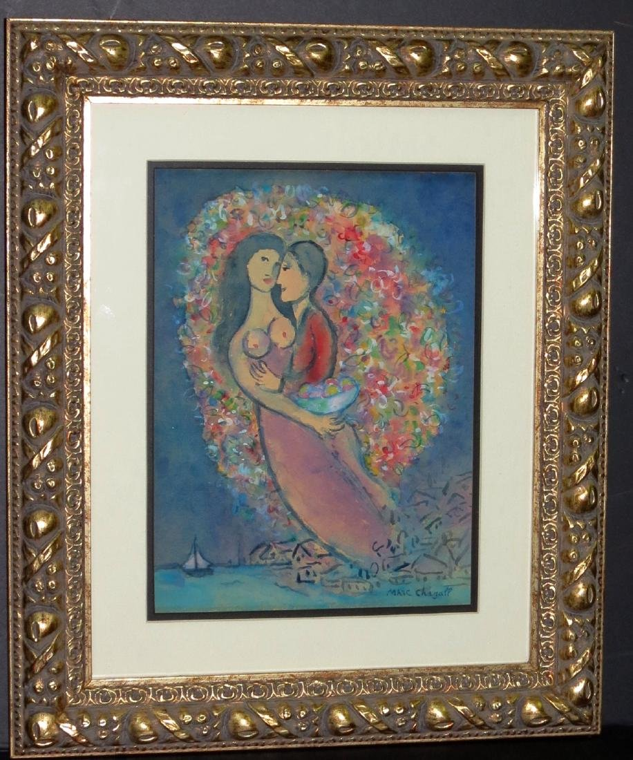 """Marc Chagall -  Watercolor on paper - COA  9"""" x 12"""""""