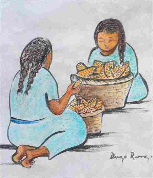 """Diego Rivera - Watercolor on paper - COA 13"""" x 11"""""""