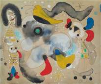 "Joan Miro - Watercolor & ink 11.5"" x 13.5"""