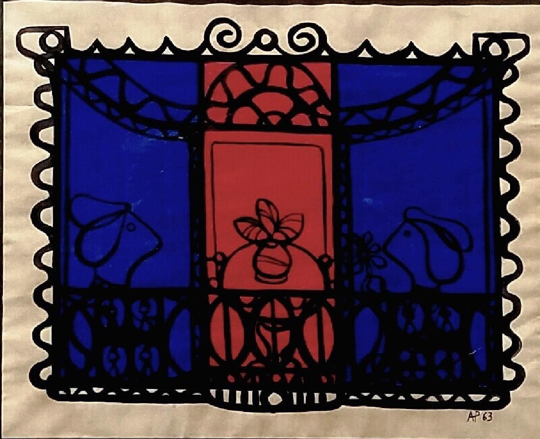Amelia Pelaez Gouache on paper - Cuba COA L. Lastra