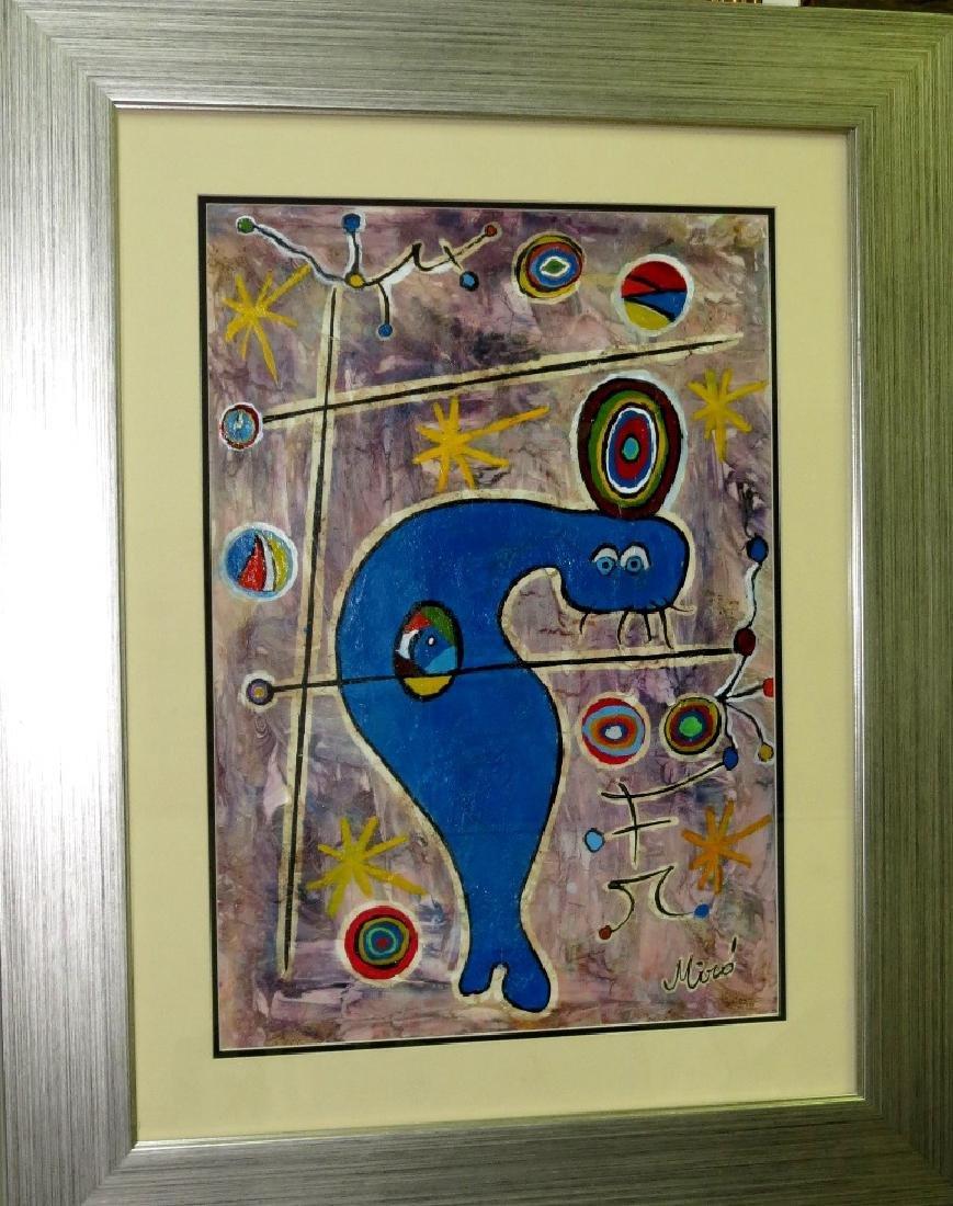 """Joan Miro -w/ Certificate - Gouache on paper 14"""" x 19"""""""