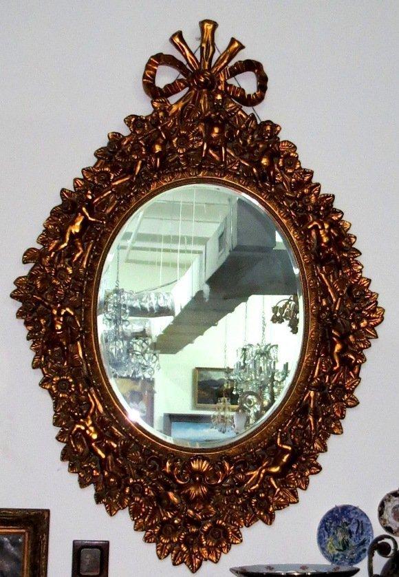 "Giant Mirror w/ Cherubs Gilt dore H: 75"" W: 48"""