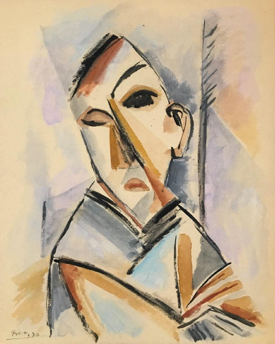"""Pablo Picasso - Gouache on paper 8"""" x 10"""" Attributed."""