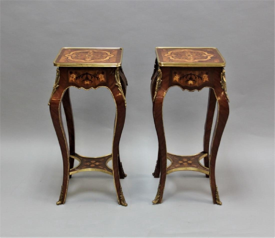 Pair of tables w/ marquetry & bronze Louis XV
