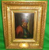 European Painting Oil on Wood Excellent Frame
