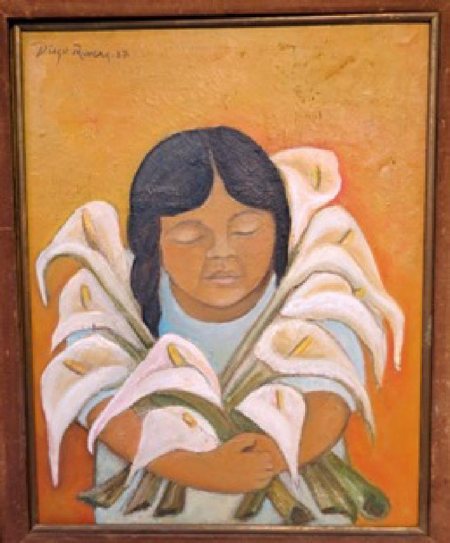 Diego Rivera 1937 Oil on Canvas - COA + Provenance - 2