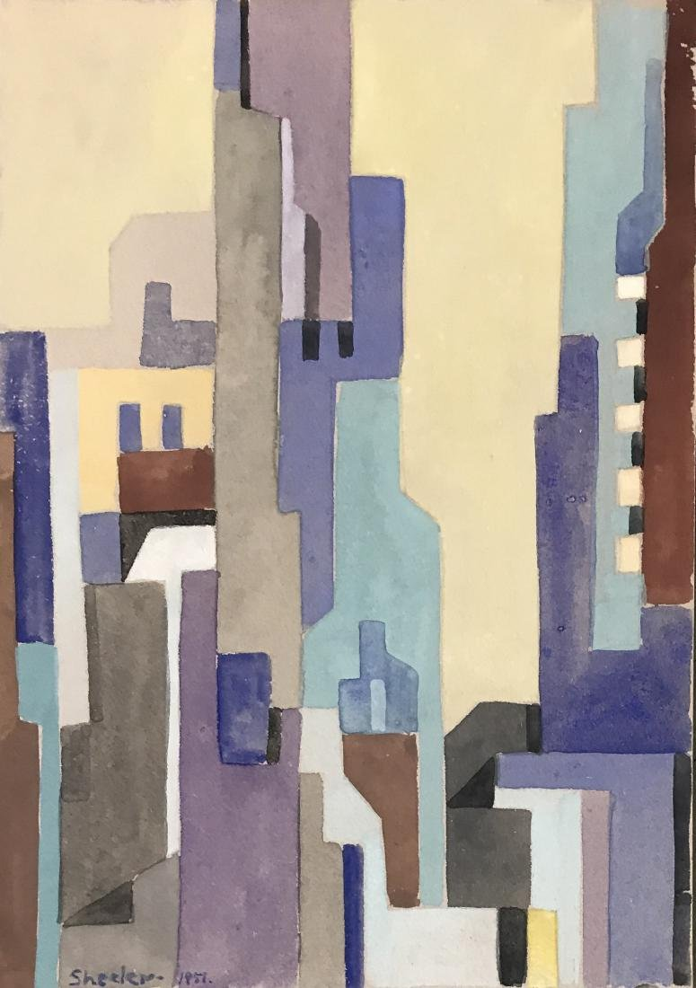 """Charles Sheeler 1951 Watercolor on paper 10"""" x 7"""""""