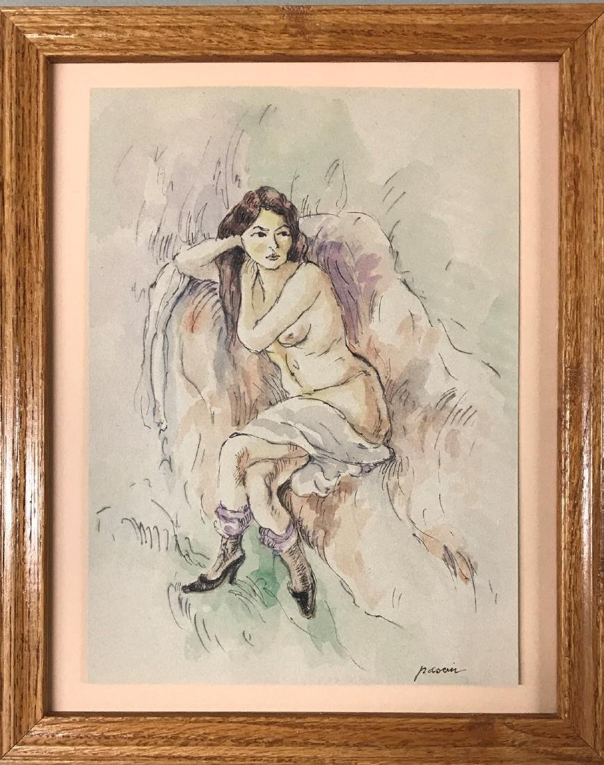 "Jules Pascin - Ink & watercolor on paper 12"" x 9"""