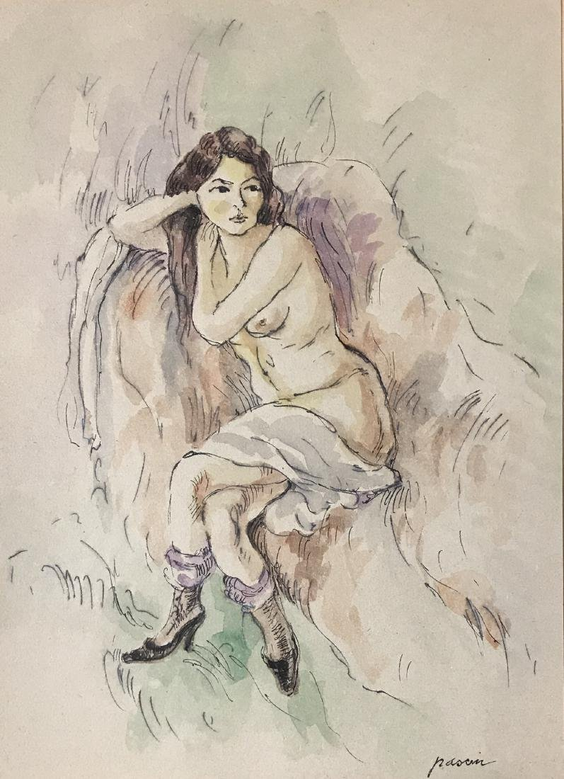 "Jules Pascin - Ink & watercolor on paper 12"" x 9"" - 2"